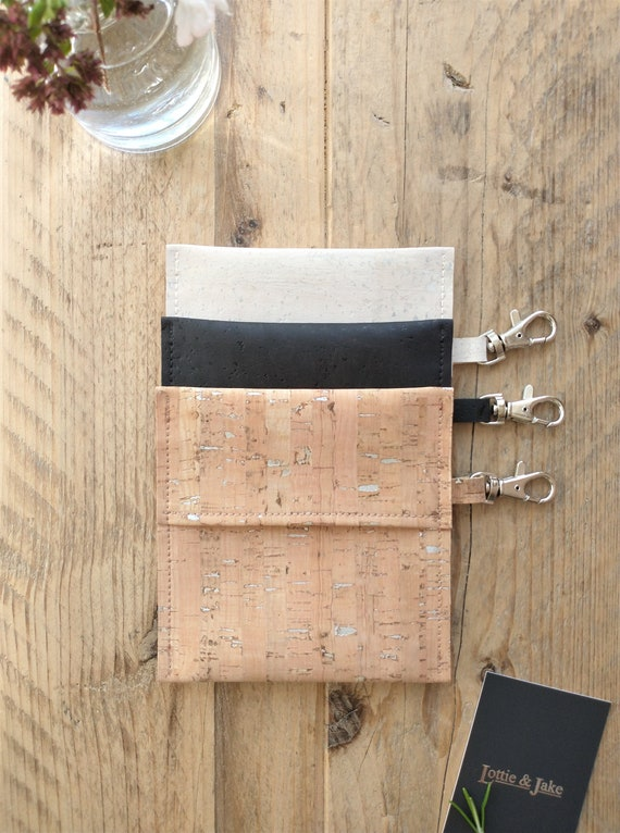 Face Mask Pouch, CHOOSE White, Black or Silver Fleck Cork, Silver Lobster Clasp, Reusable, Eco Friendly, Sustainable, Lottie and Jake