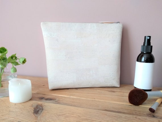 White Cork Wash Bag with Natural linen interior, Zip fastening, Eco friendly, Sustainable, Gift, Birthday
