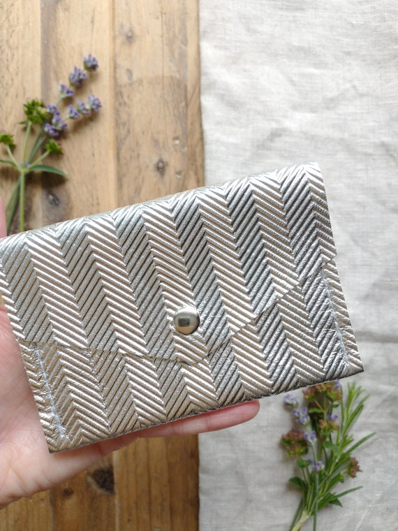 Silver Leather Card Purse, Embossed Herringbone Design, Press Stud Fastening, Two Pockets, Gift, Birthday, Lottie and Jake