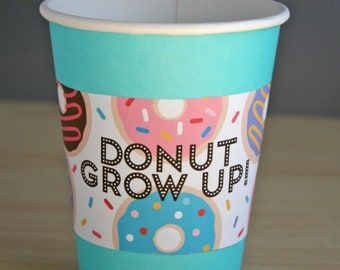 Donut party // donut cup sleeve // donut grow up // donut cup wrap // pink frosted donut party favor // donuts with sprinkles