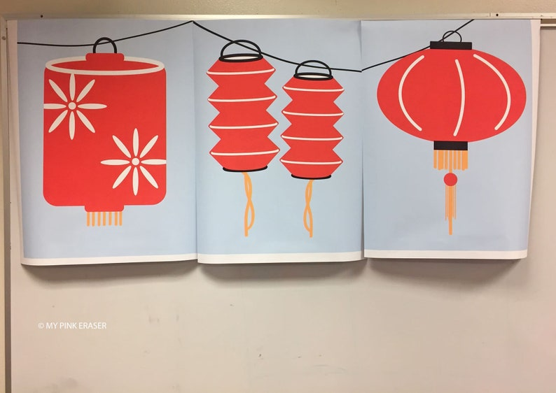 Chinese New Year banner // Lunar new year poster // red lanterns banner //  lantern banner // lantern festival