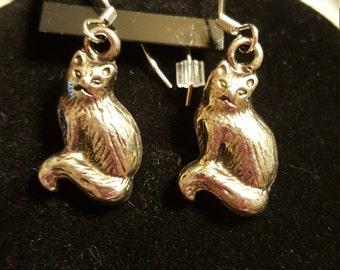 Silver Plated Handmade Cat Earrings Pierced