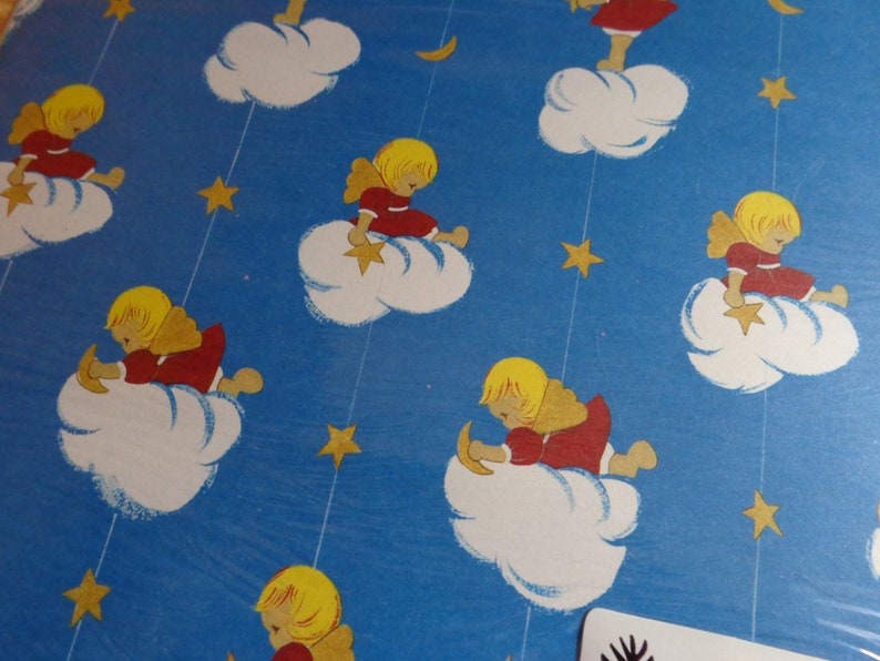 Vintage Christmas Gift Wrap CherubAngel Wrapping Paper Holiday Present NOS Deadstock
