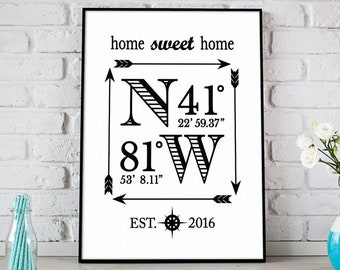 Coordinates Sign, Custom Home Gift, Personalized Housewarming Gift For Couples, Closing Gift, Latitude Longitude Wall Art, Est Date Sign