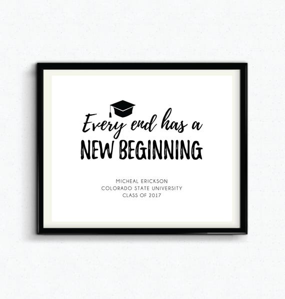 personalized graduation gift every end has a new beginning etsy