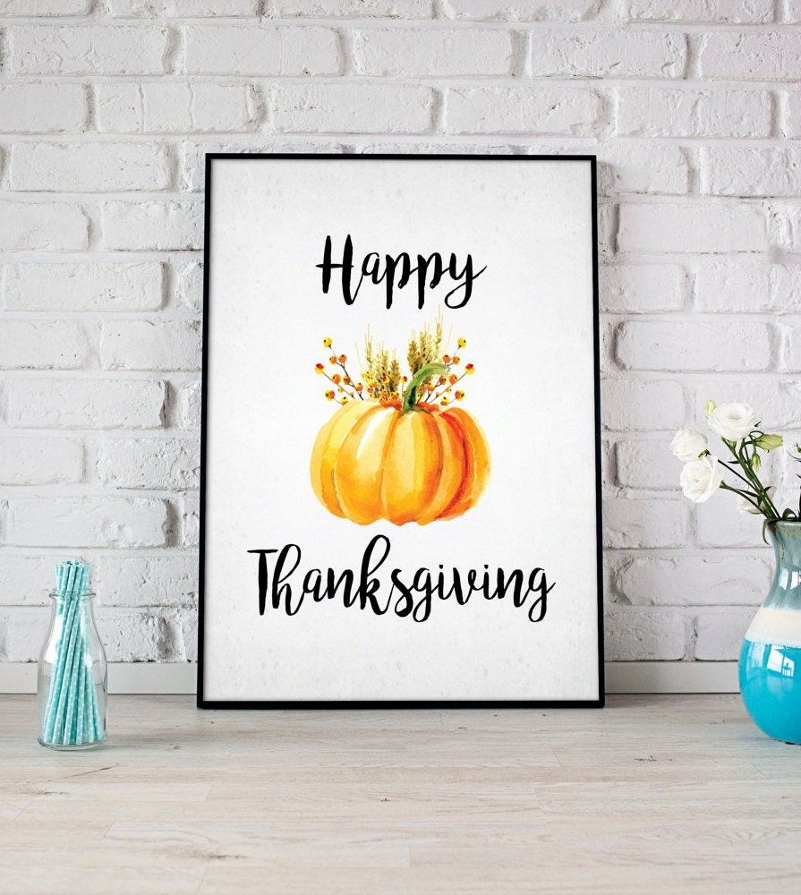 Happy Thanksgiving Print Fall Printable Party Sign | Etsy