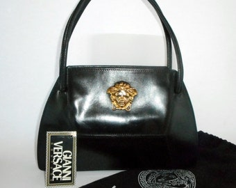 fcc201ab75c1 Gianni Versace Couture Gold Medusa Head and Black Leather Handbag.Vintage  1996.One Supermodel owner.Rarely Used.In Near Mint Condition.