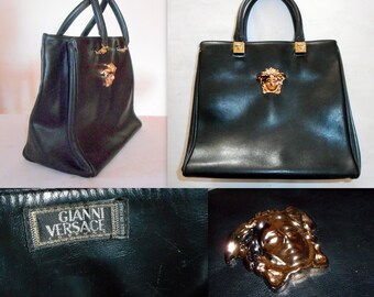43ac4405e8ed Gianni Versace Couture Black Leather Gold Medusa Grab bag. Vintage 1994.  One Model Owner. Rarely used. In Excellent