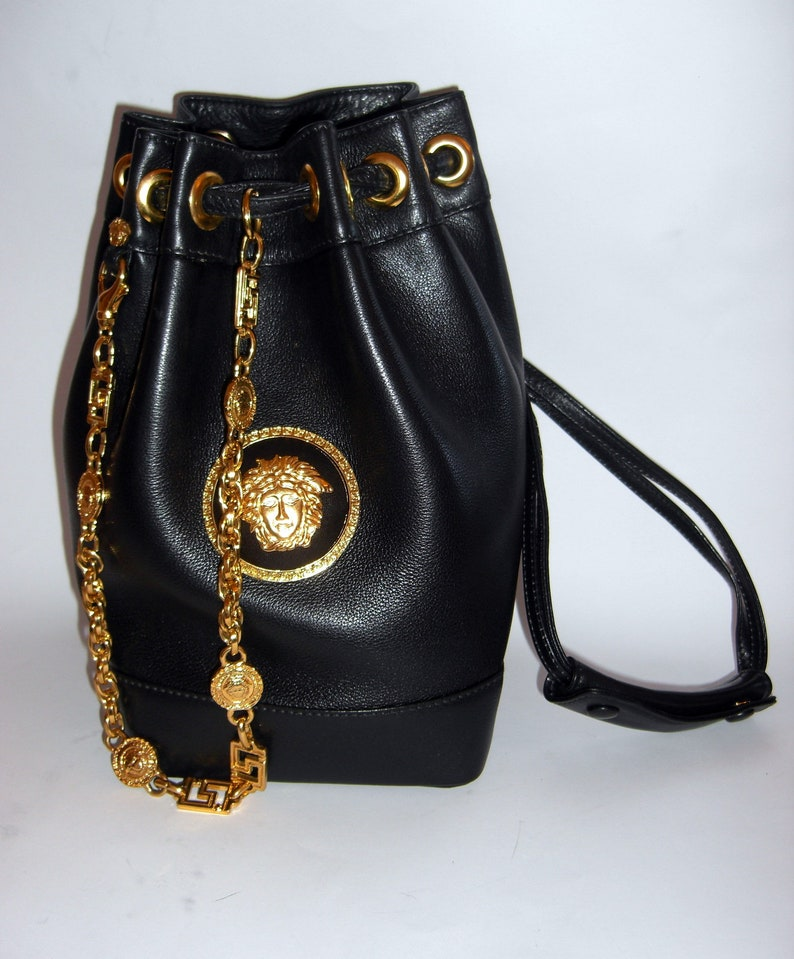 1c46daa580 Gianni Versace Couture Gold Medusa Head and Black Leather
