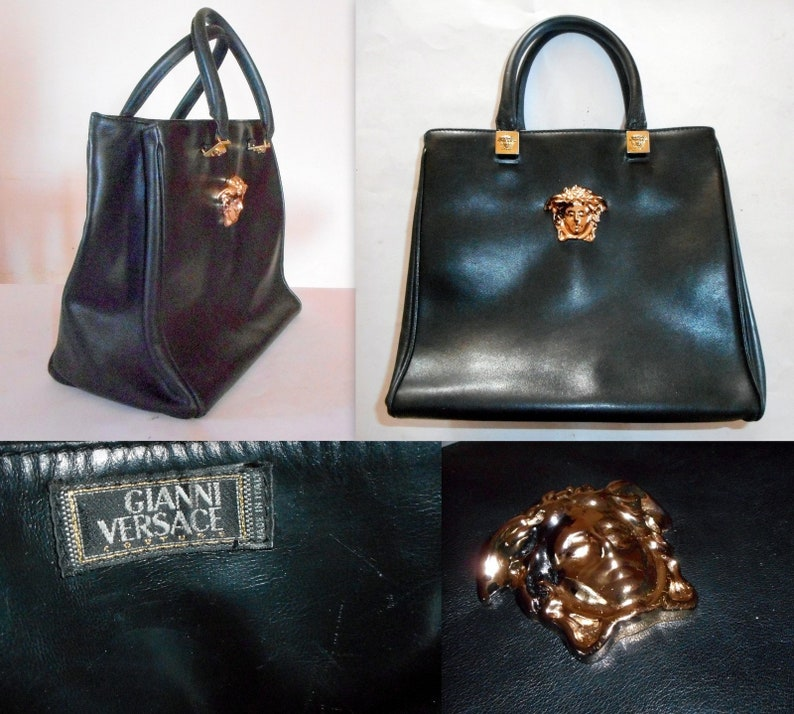 Gianni Versace Couture Black Leather Gold Medusa Grab bag. Vintage 1994.  One Model Owner. Rarely used. In Excellent a983b7e9fe8aa