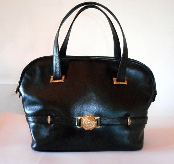 4643206f2d9 Gianni Versace Medusa Head Black Calf Leather Alma Bag.Rare   Etsy