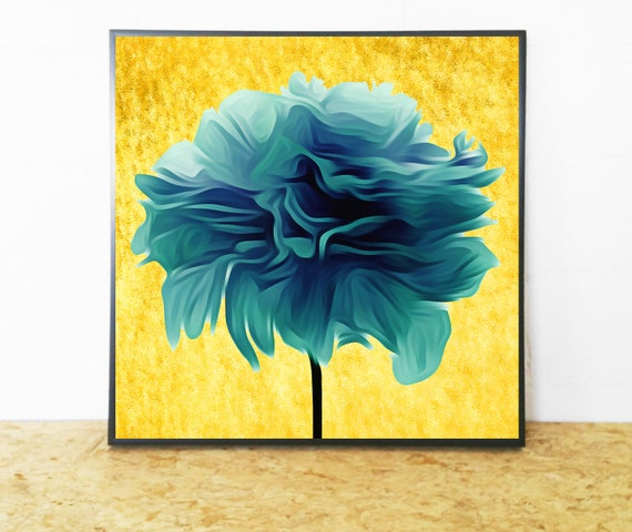 Lush Teal Wall Art on A Gold Background
