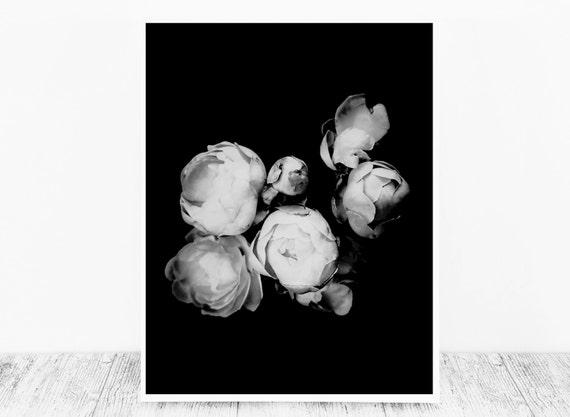 Black and White Digital Flower Print