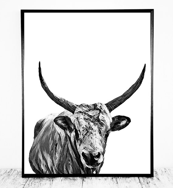 Cow Print Artwork in Black and White