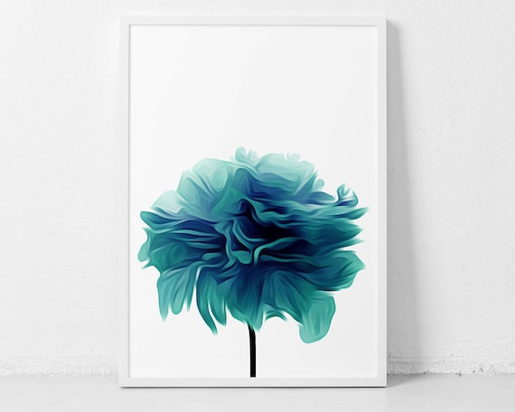 Beautiful Teal Poster Print Based on A Photography of A Peony Flower
