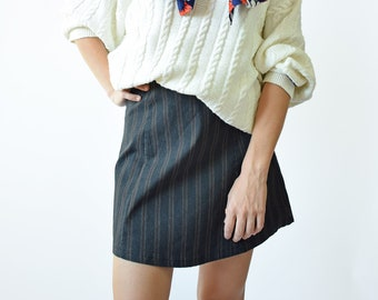 4e82671ba8 Vintage striped mini skirt, retro 90s mini skirt, small size
