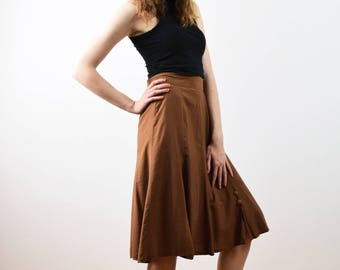 202541c8d37c7b Vintage high waist brown skirt, ladies skirt, viscose skirt, 60s skirt,  elegant skirt, light summer skirt, small size skirt, size 38