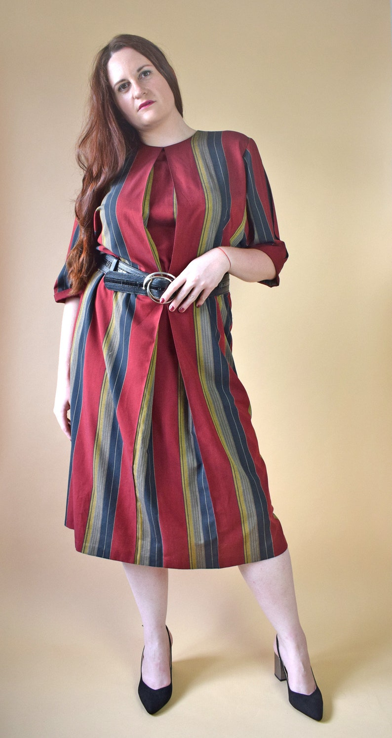Vintage striped dress, plus size dress, red dress, 80s maxi dress, long  dress, minimalist dress, large size, summer dress, large dress
