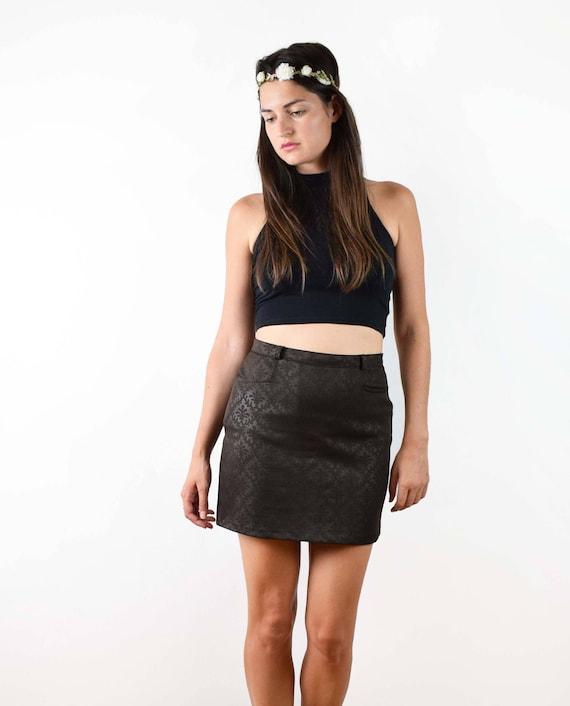 Vintage mini skirt, brown mini skirt, 90s skirt, 90s clothing, A line skirt, handmade skirt, medium size, small size