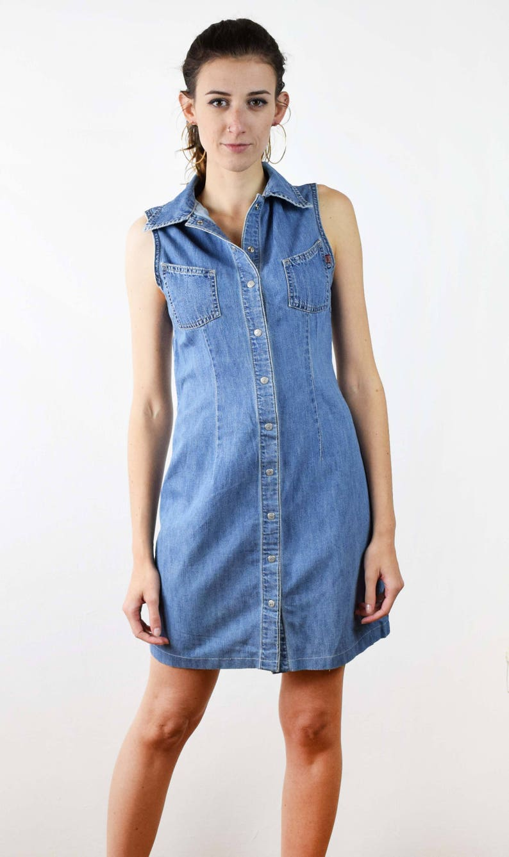 cb937d6390 Vintage jeans dress 90s dress button up dress sleeveless