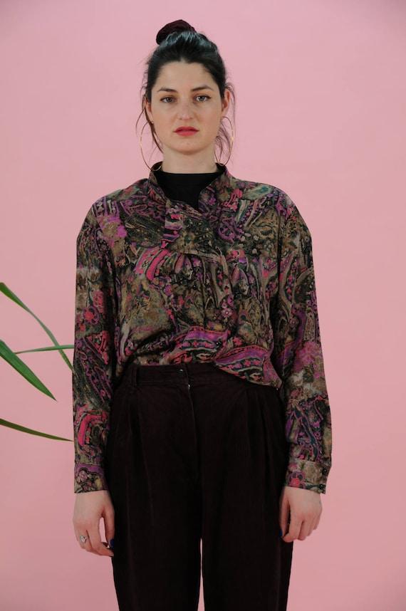 Fits Size 10-12 Purple Striped Blouse Vintage 1980/'s Button Down Shirt Medium