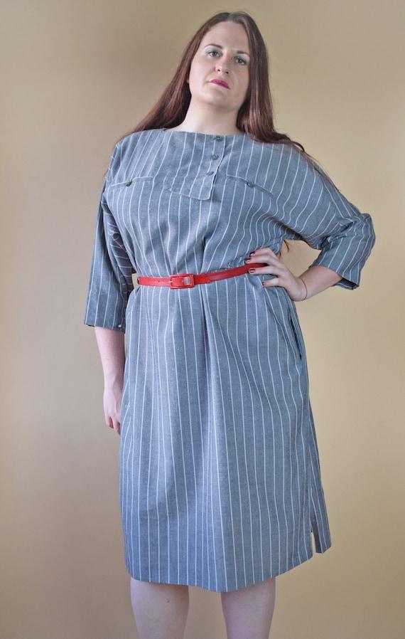 Vintage striped dress, plus size dress, 80s dress, gray dress, midi dress,  knee length dress, shirt dress, 80s clothing, large size dress