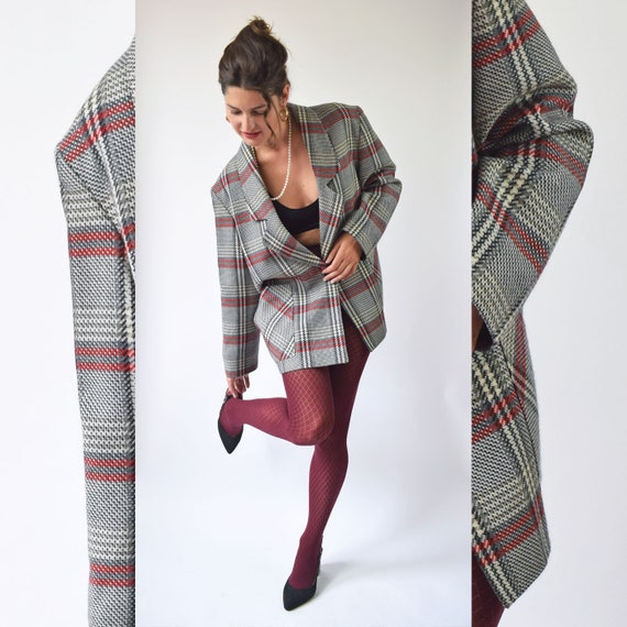 Vintage red and gray plaid blazer, oversized 80s w