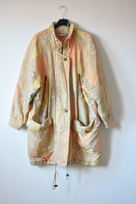 80s colorful parka coat, abstract print parka, ear