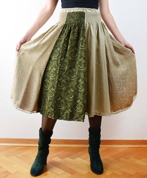 Vintage hippie skirt, green skirt, high waisted sk
