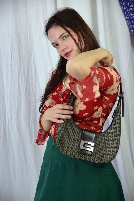 Y2K hand bag, brown ladies baguette shoulder bag