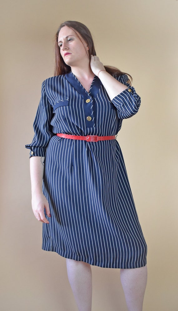 80s striped shirt dress, plus size dress
