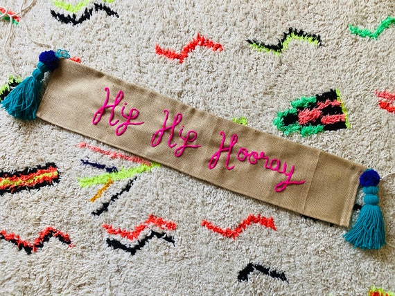 Personalised jute banner for birthday or celebration