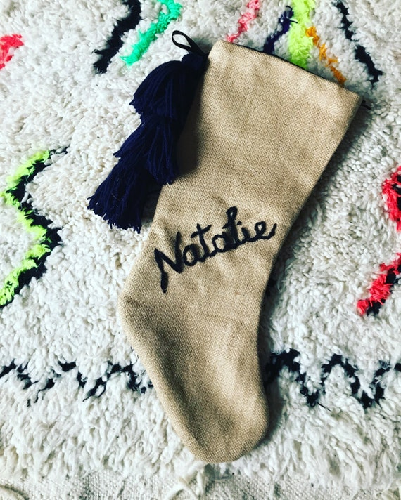 Personalised custom bespoke made to order wool embroidered name monogram boho black navy blue hessian Christmas stocking with tassels