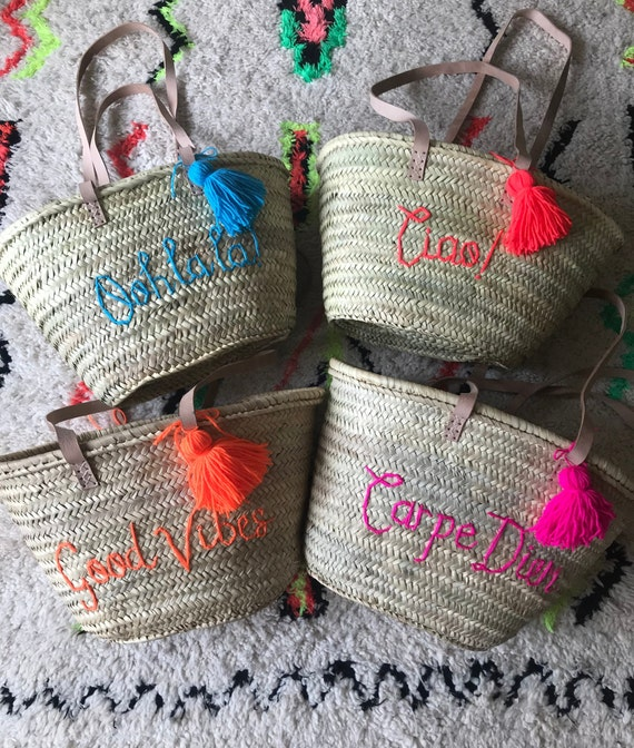 Personalised medium market shopping beach basket. Wool embroidered name or monogram with tassel Pom Pom and long leather handles