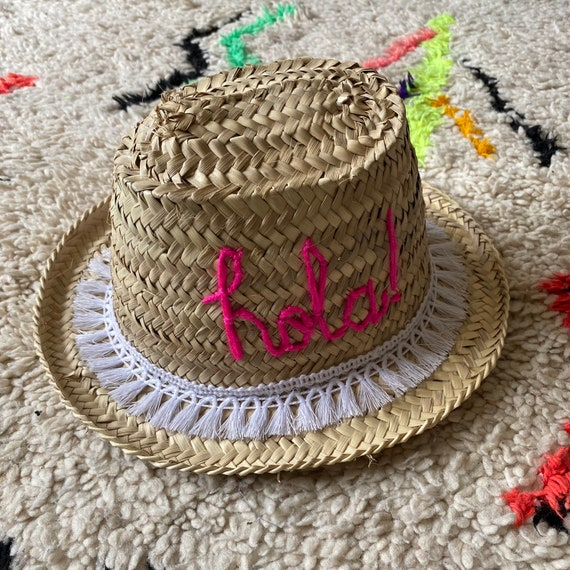 Personalised children's Moroccan straw sun hat - hola