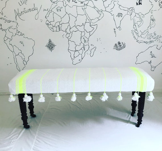 Bespoke Made to Order Custom Moroccan white neon yellow Stripe Blanket Footstool Ottoman Upholstered Bench