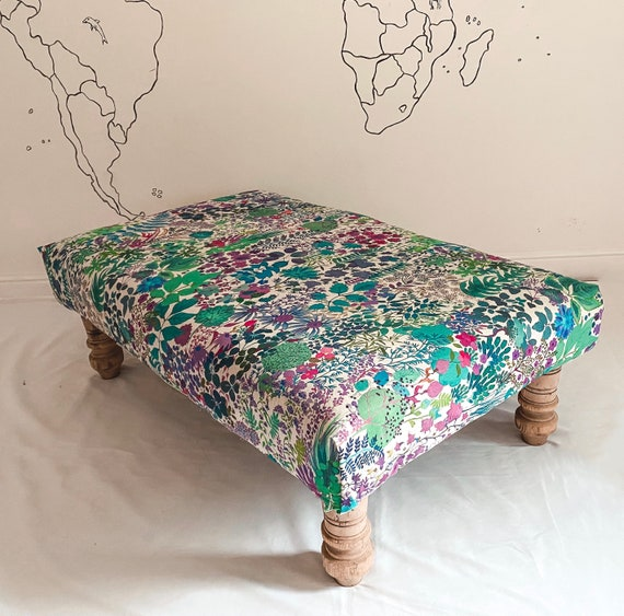 Bespoke footstool in Liberty London Fresco linen
