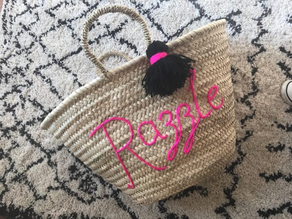 Small personalised custom bespoke made to order wool embroidered name writing Moroccan French market shopping beach basket with tassel