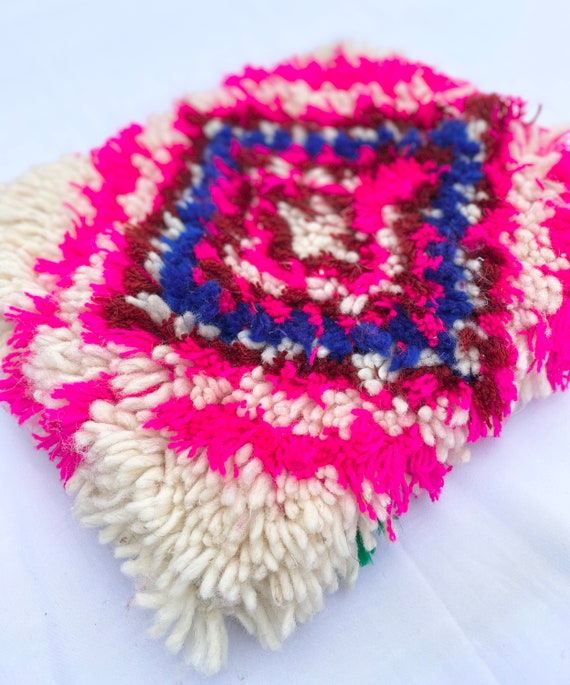 Pink Moroccan azilal rug clutch bag