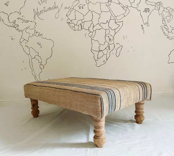 Bespoke footstool in Hungarian grain sack hessian jute