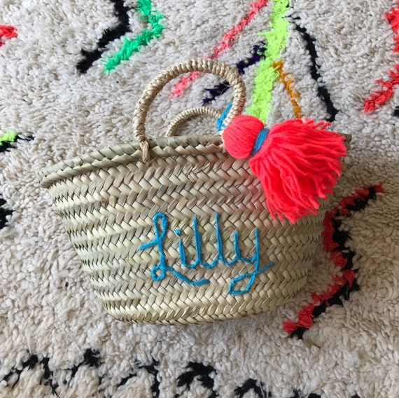 Small children's kids boys girls personalised basket. Embroidered name Moroccan French market shopping beach basket tassel.