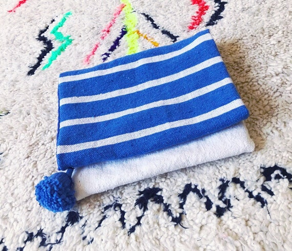 Moroccan Pom Pom Blue White Stripe Blanket Large Oversized Foldover Clutch Carpet Bag Boho Coachella
