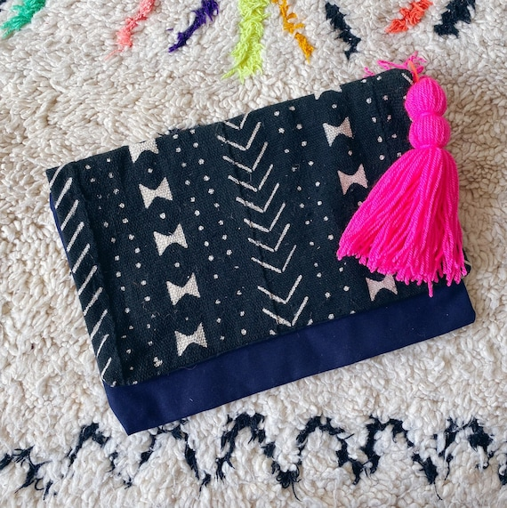Mud cloth clutch bag with tassel