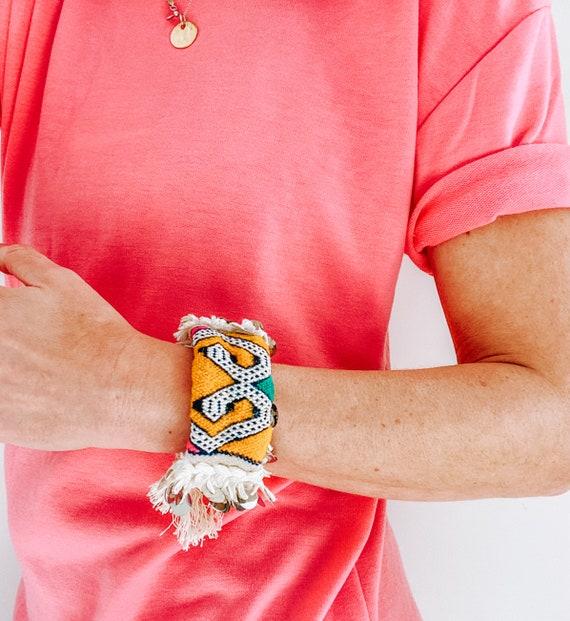 Moroccan wedding blanket bracelet bangle made with vintage yellow handira
