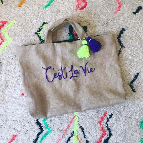 Oversized personalised personalized embroidered monogram extra large jute tote bag holdall beach travel shopper neon tassel Pom Pom