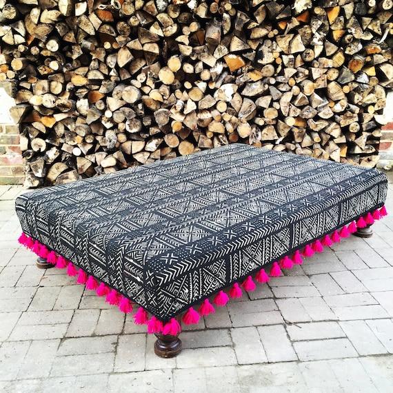 Black White Mud Cloth Footstool Ottoman, Boho Mali, Bespoke Made to Order Custom with Pink Tassel Trim