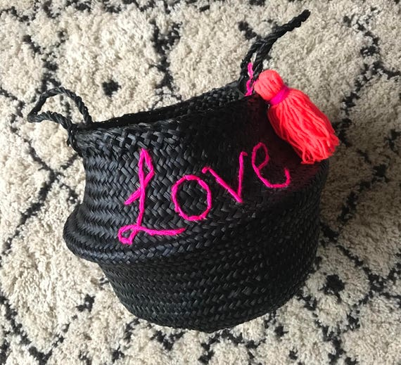 Personalised custom bespoke made to order wool embroidered name writing black seagrass Vietnam belly storage market basket with tassel