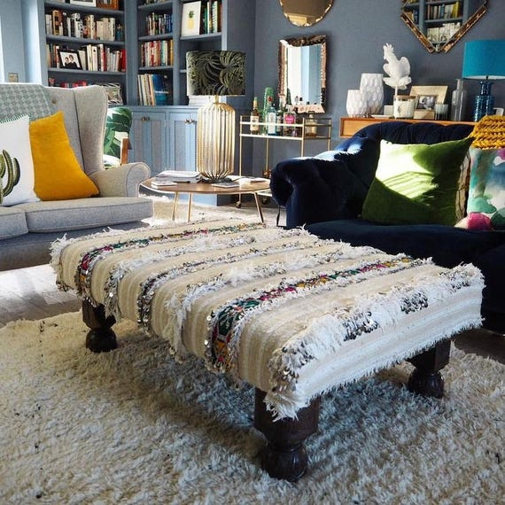 Bespoke footstool in handira Moroccan wedding blanket