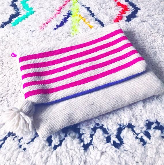 Moroccan Pom Pom Pink Stripe Blanket Large Oversized Foldover Clutch Carpet Boho Bag