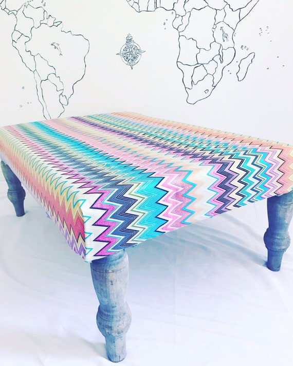 Missoni Home Zig Zag Multi Coloured Vinci Fabric Footstool Ottoman,  Bespoke Made to Order with Pom Pom Tassel Trim
